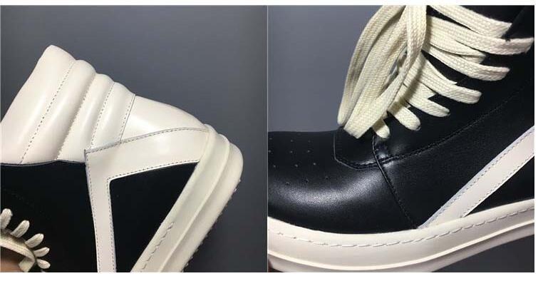 Новый ручной работы из натуральной кожи черный / белый корзина унисекс зашнуровать уличные сапоги унисекс хип-хоп сапоги