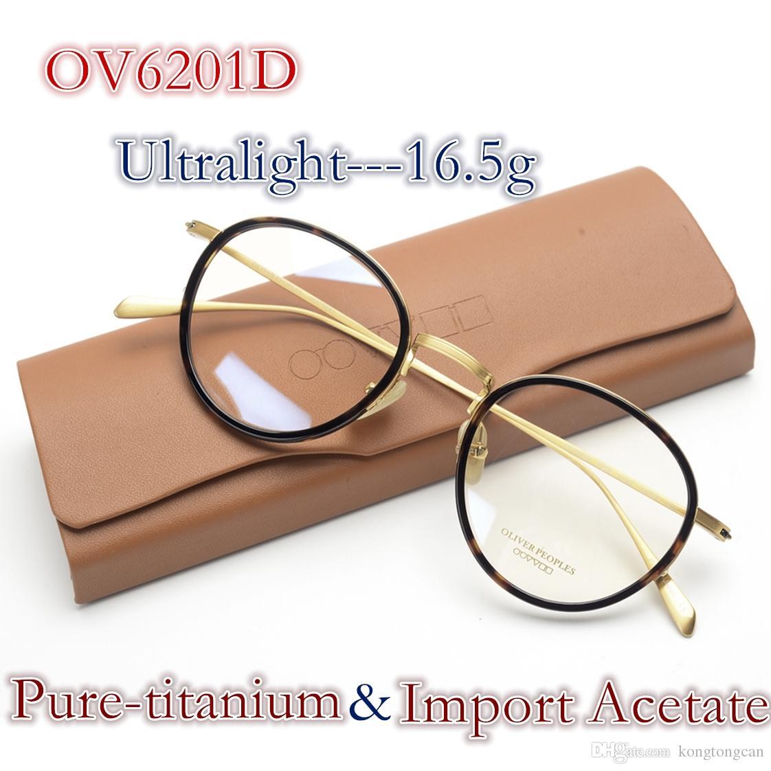 1770d24a2b16d Compre Vintage Retro Oliver Povos OV6201D Óculos Pure Titanium Acetato  Quadro Mulheres Homem Marca Design Caixa Original E Caso Prescrição Lens De  ...