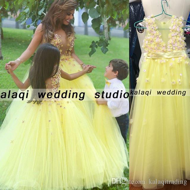 602091c60c0 A Line Crew Neck Yellow Party Dress Ball Gown Said Real Foto TuTu Flowers  Girls Dresses Little Girl Patterns Mother And Daughter Dress Gowns Cheap  Flower ...