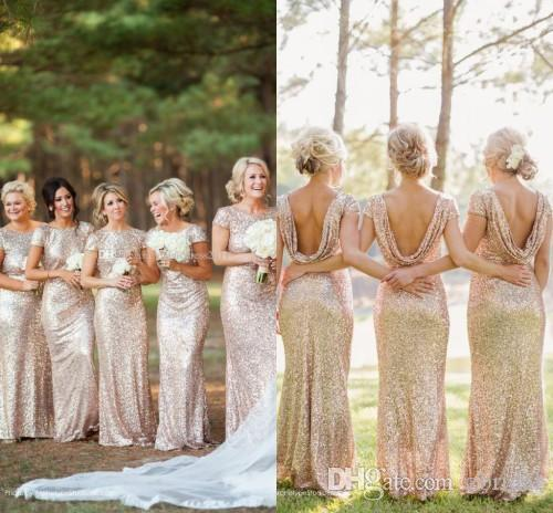 2018 Contury Gold Bridesmaid Dresses Sequins Sexy Backless Short