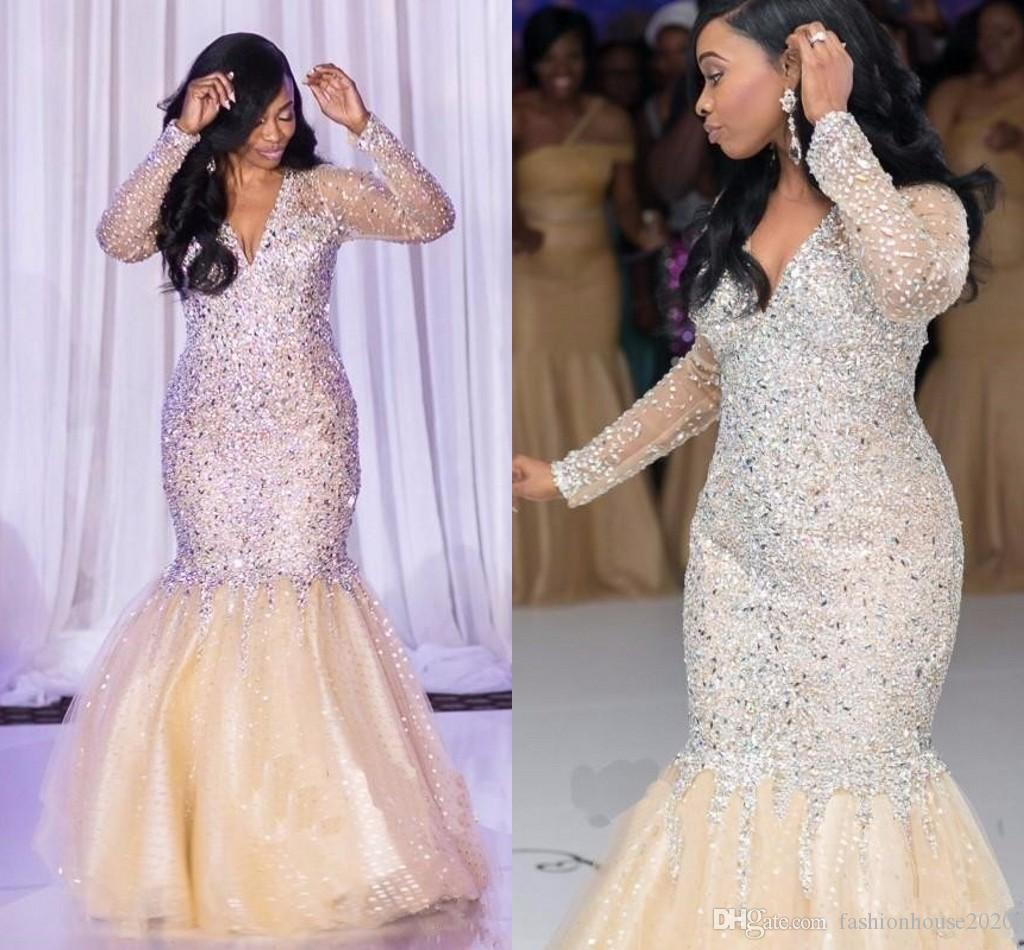 2018 Hot Sparkly Bling Mermaid Evening Dresses Wear V Neck Sheer Long  Sleeves Major Beading Crystal Floor Length Party Prom Gowns For Women Plus  Size ... 3c1b839a7c91