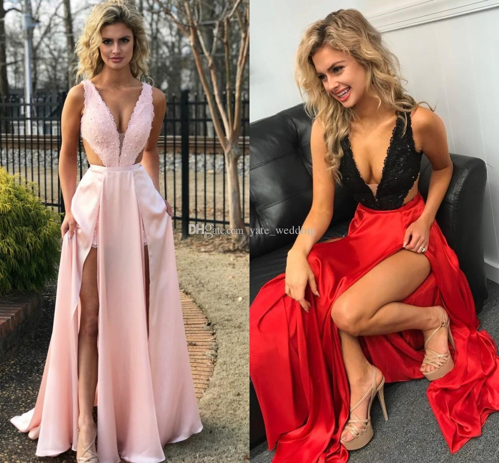a64cd9e7a1 2018 Sexy Split Prom Dresses Deep V Neck Sleeveless Lace Satin Floor Length  Cutaway Side Over Skirt Black Red Pink Homecoming Dresses Peach Prom Dresses  ...