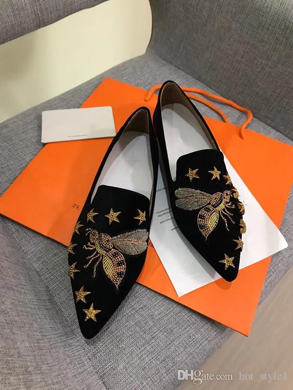 New Style Women Fashion Pointed Toes Flat Casual Single Shoes Girls Spring Fashion Suede-Embroidered Five-Pointed Star Pointed Flats Shoes