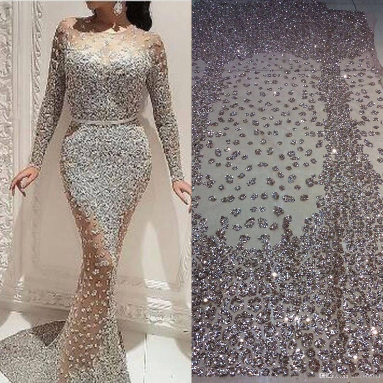4dd0e65dbb8 Großhandel 2018 Luxus Meerjungfrau Abendkleider Langarm Sparkly Sexy  Arabisch Abendkleider Robe De Soiree Von Kimjobridal