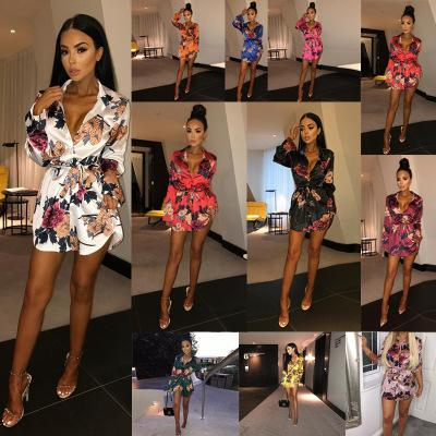 217e5c55e85 Fashion V-Neck Floral Women Cardigan Dress Long Sleeve Blouses Shirt Dress  Club Bandage T Shirt Dresses With Belt Dresses Dress Women Clothes Online  with ...