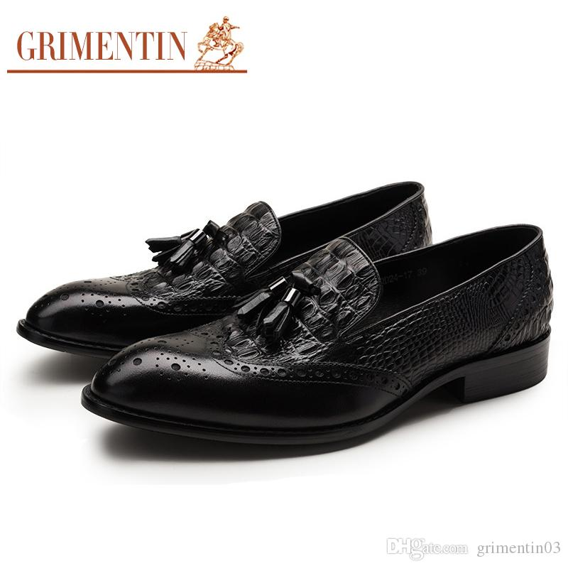 Men's Casual Shoes Shoes Low Price Hottest British Style Crocodile Leather Oxfords Black Pointed Toe Tope Quality Flats Shoes Mens Wedding Flats
