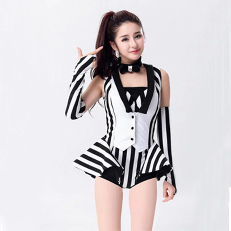 e311475cdcc0 New Sexy Female Dj Dance Costumes 2 Pcs (Top +Shorts )Black White Stripe  Designed Ds Jazz Singer Stage Performance Wear