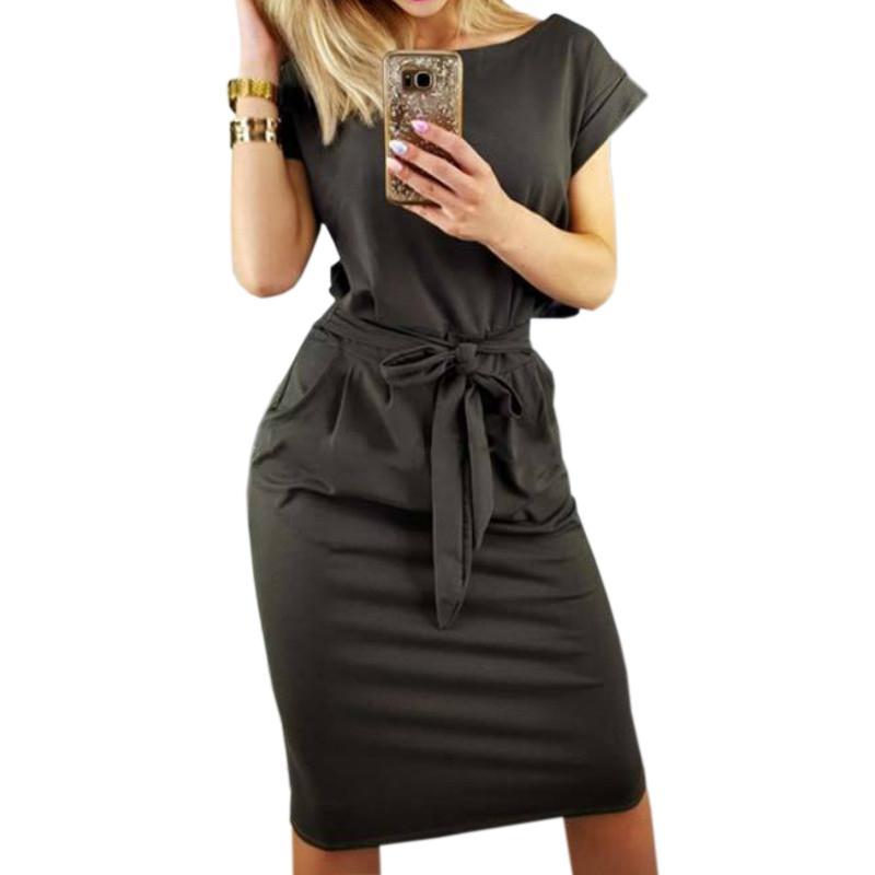 7b72632d2a2 Acheter Genou Longueur Moulante Bandage Femmes Robe 2019 Printemps Manches  Courtes Slim Femme Sexy Robes D été Casual Robe Noire GV451 De  29.95 Du  Your01 ...