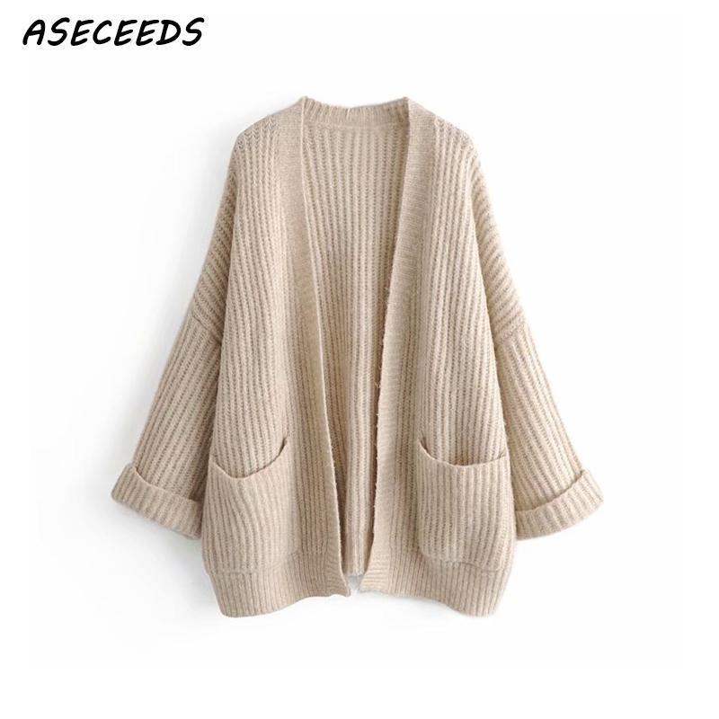 Compre Suéteres De La Moda 2018 Bolsillo De Las Mujeres Cardigan ...