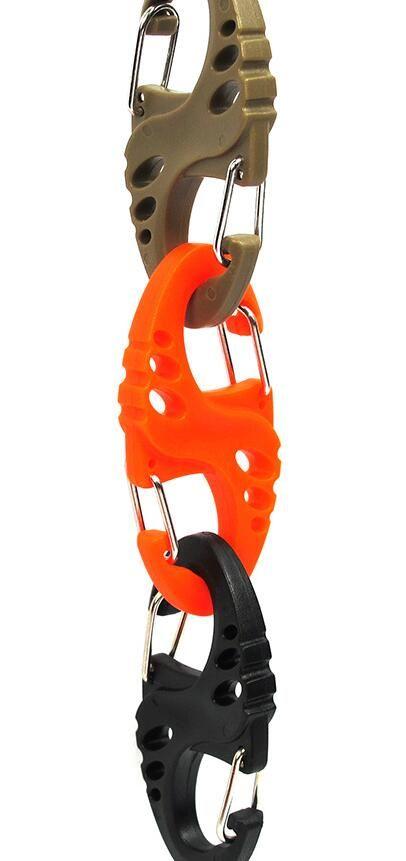 Multipurpose Black Plastic S-Biner Clip For Bracelet Carabiner S Keychain Mini S hook keyring Bulk Package