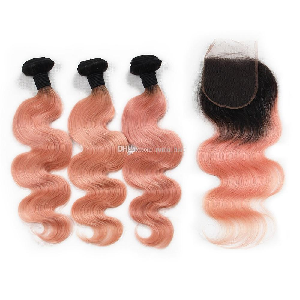 Rose Gold Human Hair Ombre With Lace Closure Body Wave Brazilian Virgin Unprocess Hair Bundles With Lace Closure