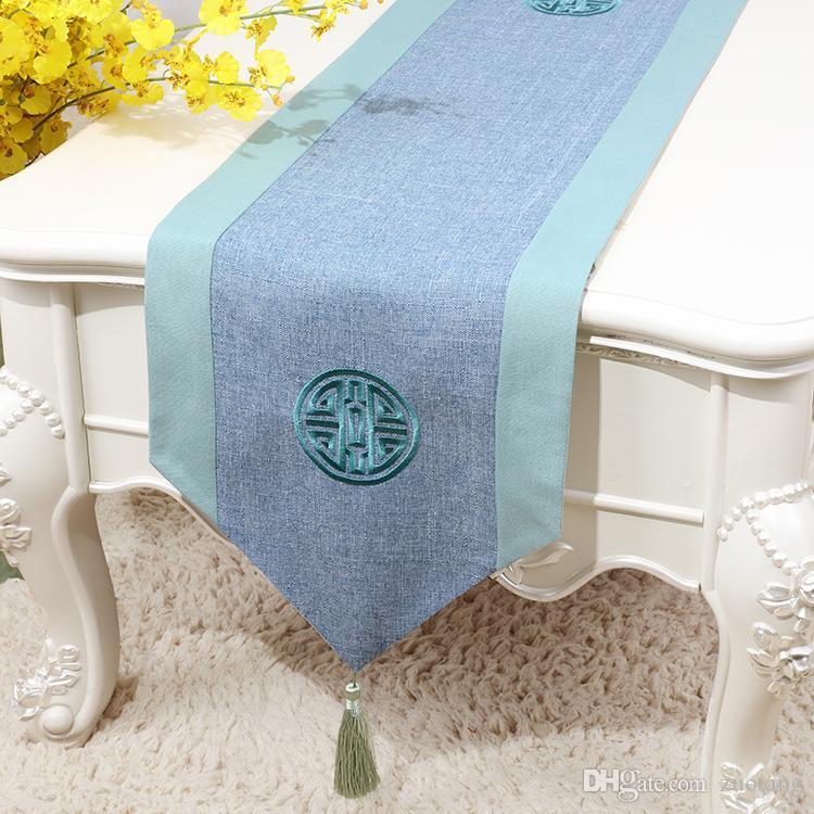 Extra lange bestickte Baumwolle Leinen chinesische Tischläufer Hochzeit  Weihnachtsfeier Dekoration Tischdecke Glück Esstisch Matte 300x33 cm