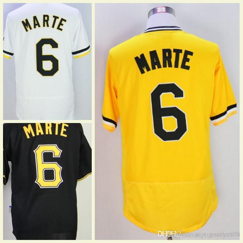 ded20438cb8 2019 2018 Cheap Men Stitched Coolbase  6 Starling Marte Baseball Jerseys  Flexbase White Yellow Black Grey M 3XL From Top jerseys168
