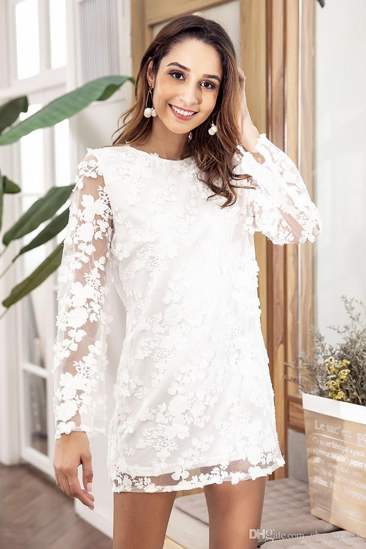 2018 Autumn New Lace Dress For Women White Party Dress Embroidered Stitching Sexy Dress Long Sleeved Loose Skirt With Women