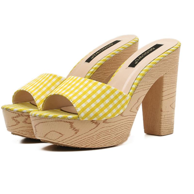 63d8ab8f8ec1 Ladies Casual Sandal 11cm High Heel Flip Flops Red Women Platform Sandals  Summer Yellow High Heels Slippers Sandale Femme Wedding Shoes Wedges From  ...