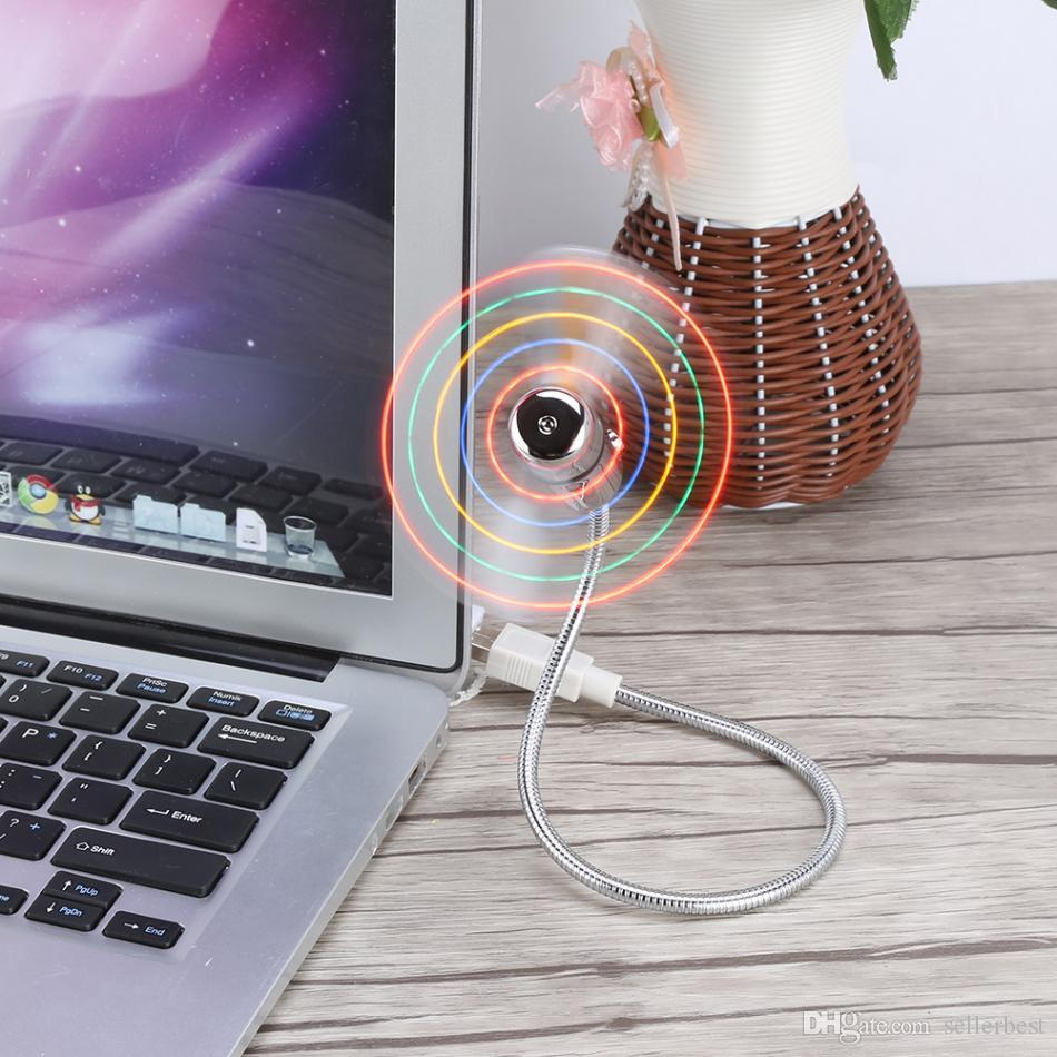 Universal Mini USB Cooling Fan Flexible Colorful LED Light for Notebook Laptop Computer