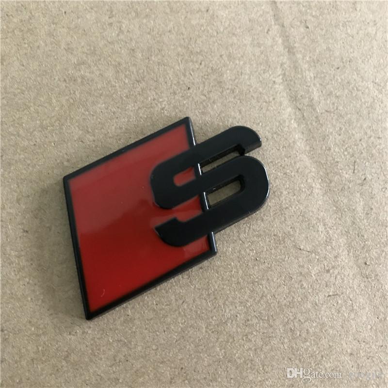 Metal Logo Sline Emblem Badge autocollant de voiture rouge avant noir arrière démarrage porte latérale pour Audi Quattro VW TT SQ5 S6 S7 A4 Accessoires