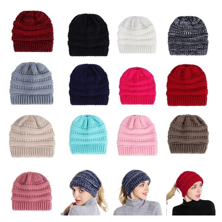 4e6525d9455 Cross Border Europe America Hot Beanie Cap Autumn Winter EBay Men And Women  Knitted Ponytail Hat Knitting Wool Cap Outdoor Keep Warm T7I330 Ponytail Hat  ...