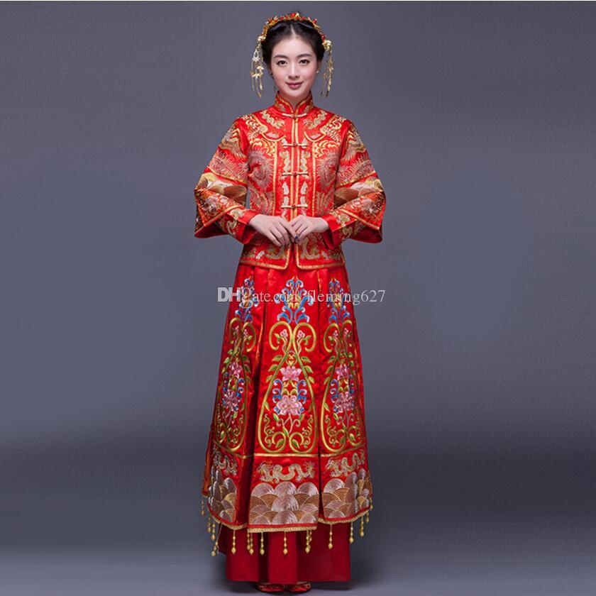 2018 luxury ancient royal red embroidery chinese bride wedding dress