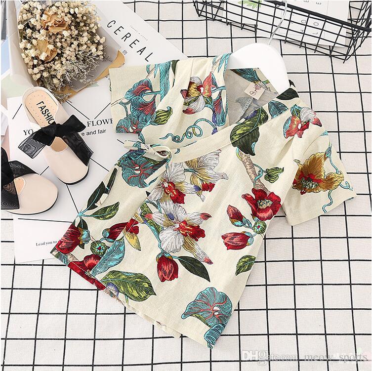 New Summer Girls Garçons Pyjama Set Style Japonais Impression Floral À Manches Courtes Pyjamas + Pantalons Ensemble Enfants 2-8 Ans Accueil Bébé Garçon Pyjamas