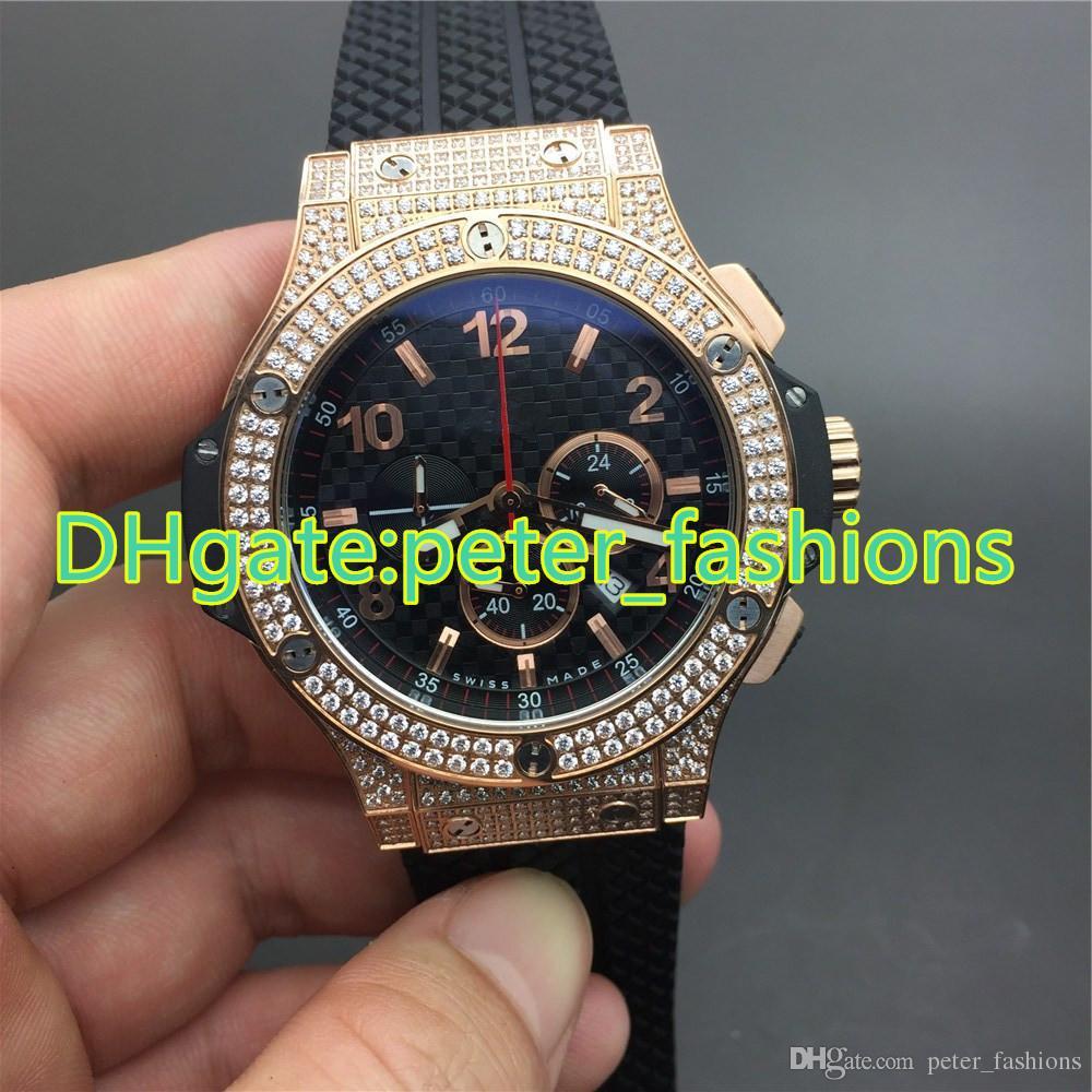 2392757b1771 AAA роскошный бренд часы черный резиновый ремень полный розовое золото  алмаз смотреть кварцевые хронограф спортивные часы мужские часы