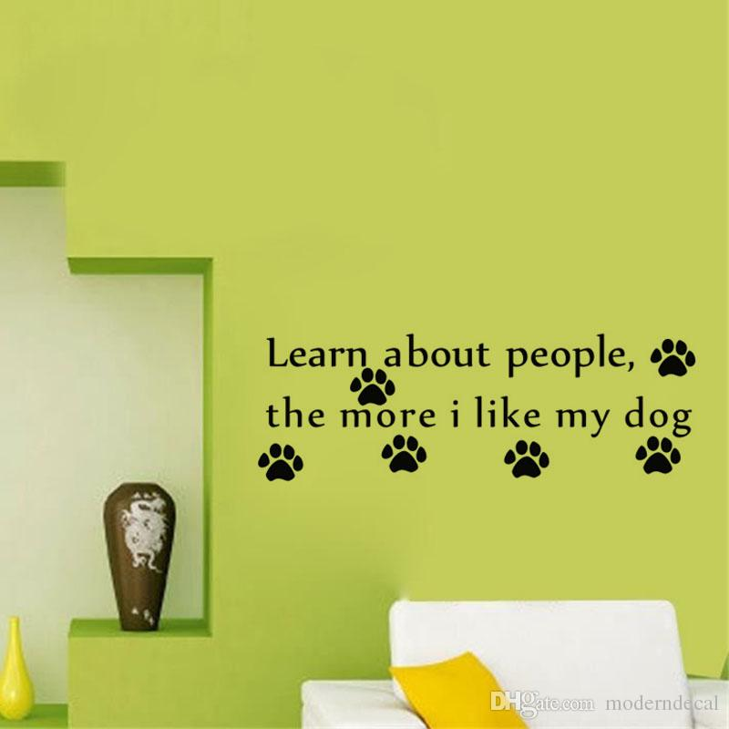 Learn About People The More I Like My Dog Wall Stickers Paw Print ...