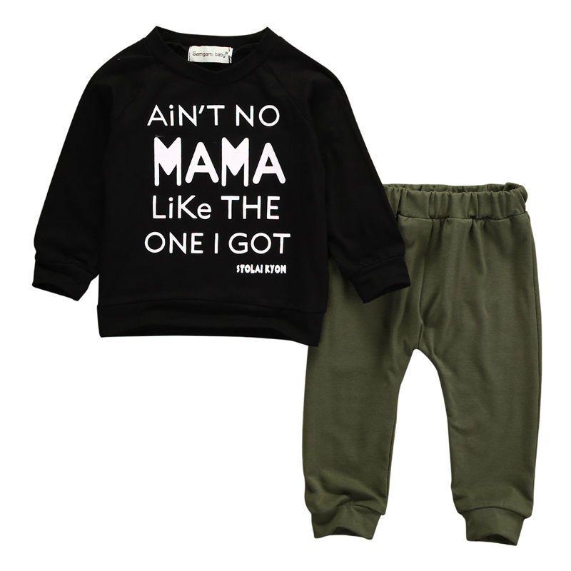 f584bac325473 Acheter Enfant Bébé Garçons Lettre Lettre Hauts Pantalons Pantalons Ensemble  2 Pièces Tenues Tenues Mama Enfants Garçon Vêtements Noir À Manches Longues  ...