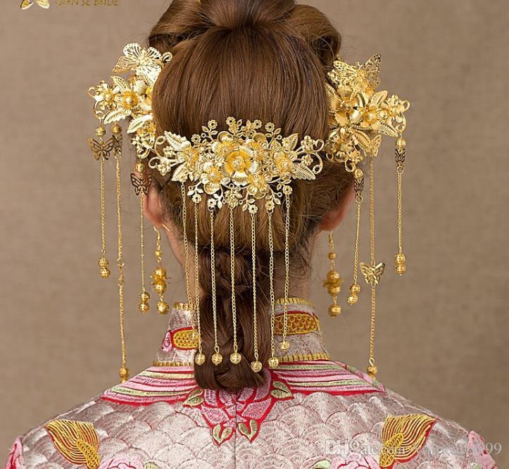 Chinesische Braut Kopfschmuck Kostüm Haar Quaste Hochzeit Show Kleidung Zubehör wo