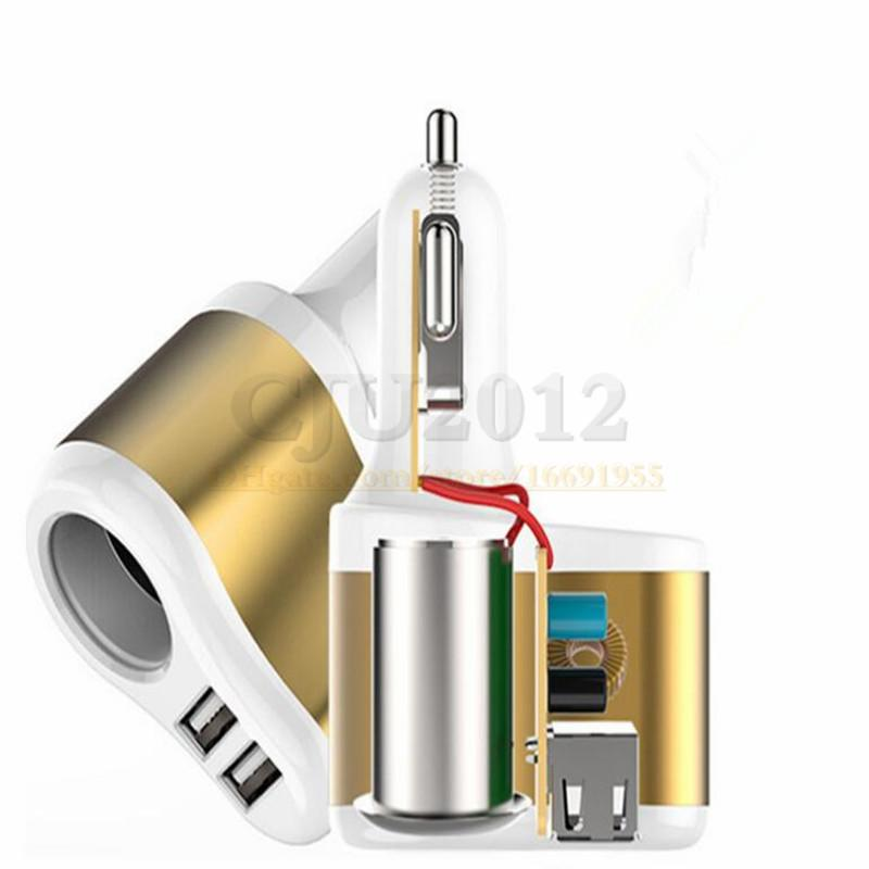 USB Car Charger Dual USB Port and One Way Car Cigarette Lighter Power Socket 12V 2.1A 1.0A Power Adapter Rapid Charging Mobile Phones