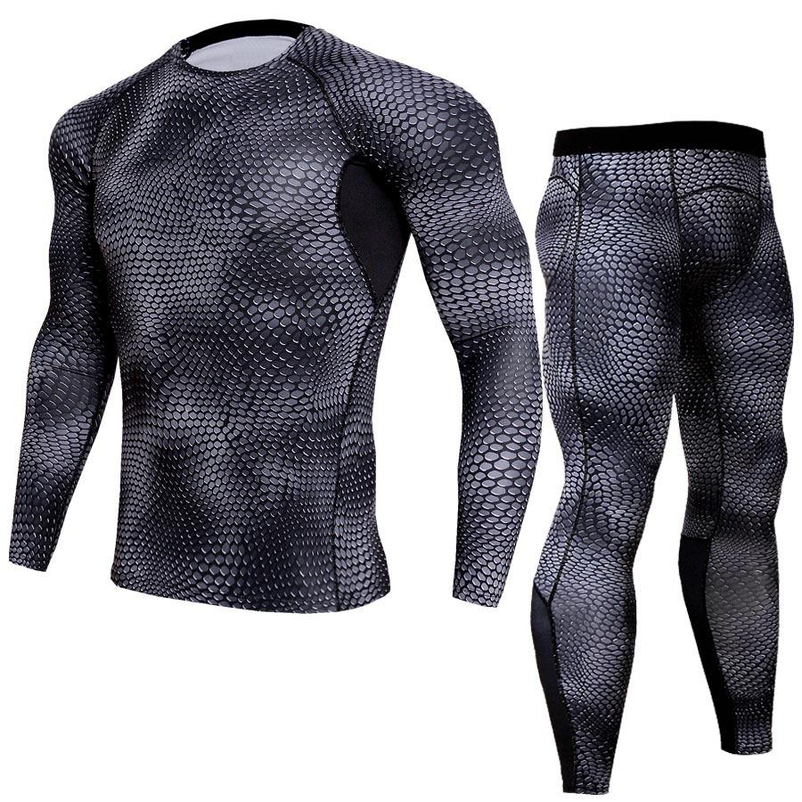 1bd3ba37029 LINDSEY SEADER Men s Snake Print Gym Fitness out Fit Training Running  Tights Jogging Suit Compress Longsleeve Set Shirt+pant Trainning   Exercise  Sets Cheap ...