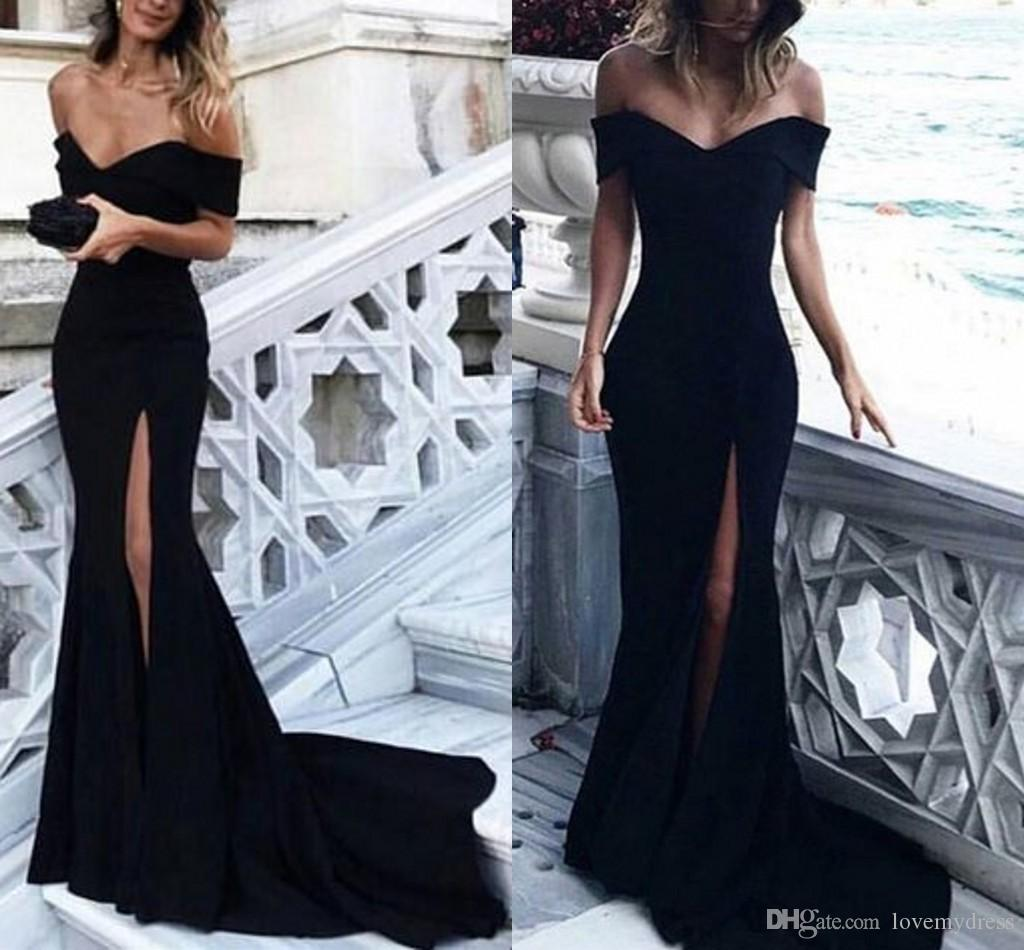 1aba631352c8 Elegant Black Formal Evening Dresses 2019 Off The Shoulder Side Split Satin  Mermaid Prom Dress Beach Party Dress Custom Made Special Occasion Evening  ...