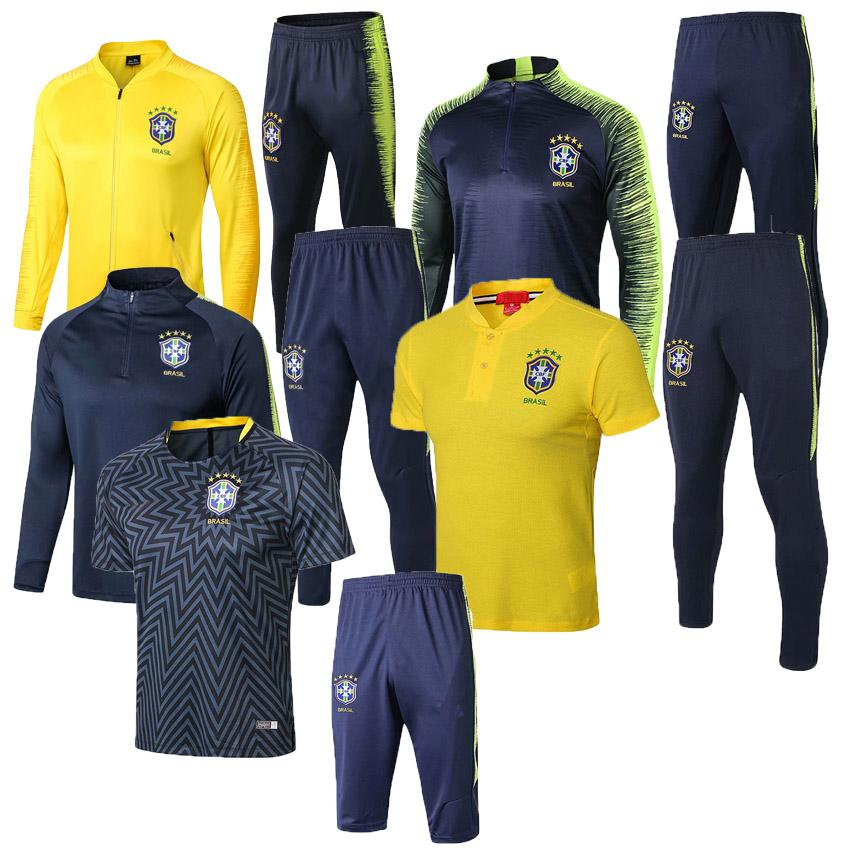 d56be1642 2019 2018 World Cup Brazil Tracksuit Uniforms Shirts Chandal 18 19 Pogba  NEYMAR JR Tracksuits Survetement Long Sleeve Tight Pants With Half Zippe  From ...