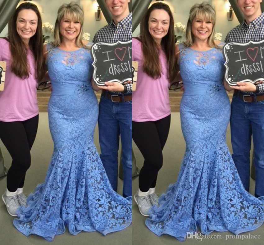 535cf6e3a56 ... Bride Dresses New Sleeveless Blue Lace Appliques Elegant Mermaid Long  Women Formal Gowns Evening Dresses Mother Of The Bride Dress Shops Near Me  Mother ...