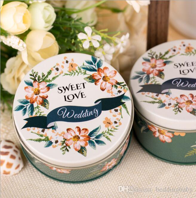 Flower Printed Chinese Style Sugar Tin Box Kawaii Cosmetics Trinket Organizer Mini Container For Tea Pill Coin Box