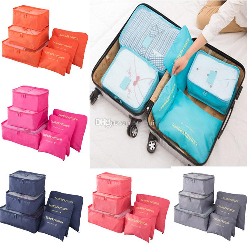 38f87d887a49 Travel Luggage Storage Bag Set For Clothes Underwear Shoe Cosmetic Bags Bra  Pouch Bag Organizer Laundry Pouch 6pcs/Set WX9-772