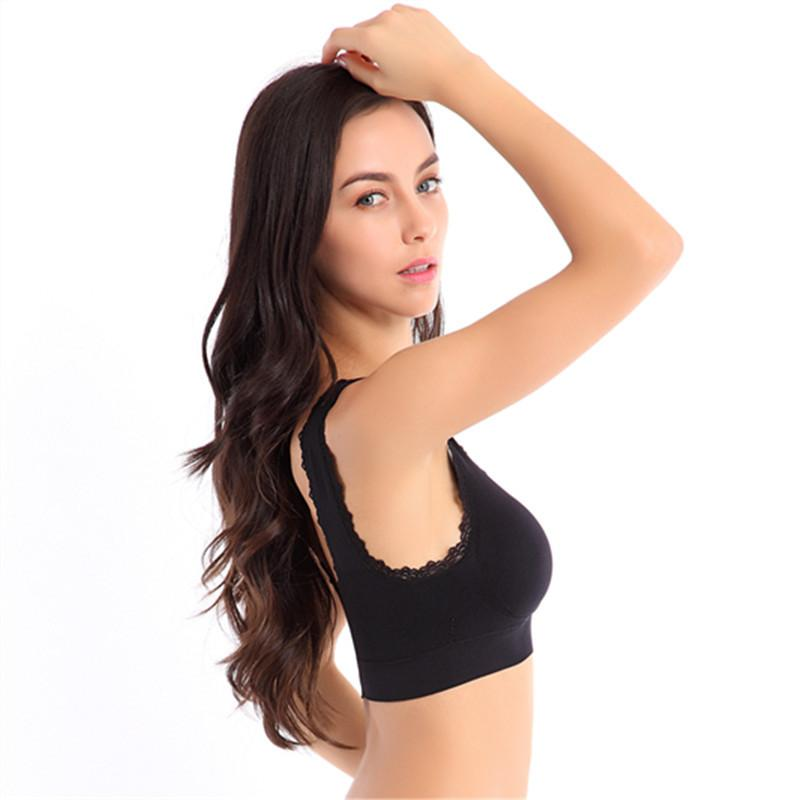 S,M,LWoman Cotton Bras Lovely Lace Pure Color Adjustable Padded Seamless Wholesale Sleep Vest Crop Top Women