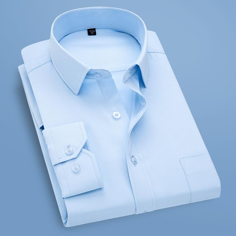 9a1ae8bb5eb06 Compre Nuevo 2018 Camisa De Vestir Para Hombres Sólido De Sarga Ropa De  Negocios Formal Manga Larga Con Bolsillo En El Pecho Camisa Casual Social  Para ...