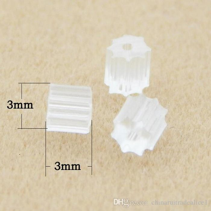 /bag or set 3mm Earrings Back Stoppers ear Plugging Blocked Jewelry Making DIY Accessories white clear octagonal shaped plastic
