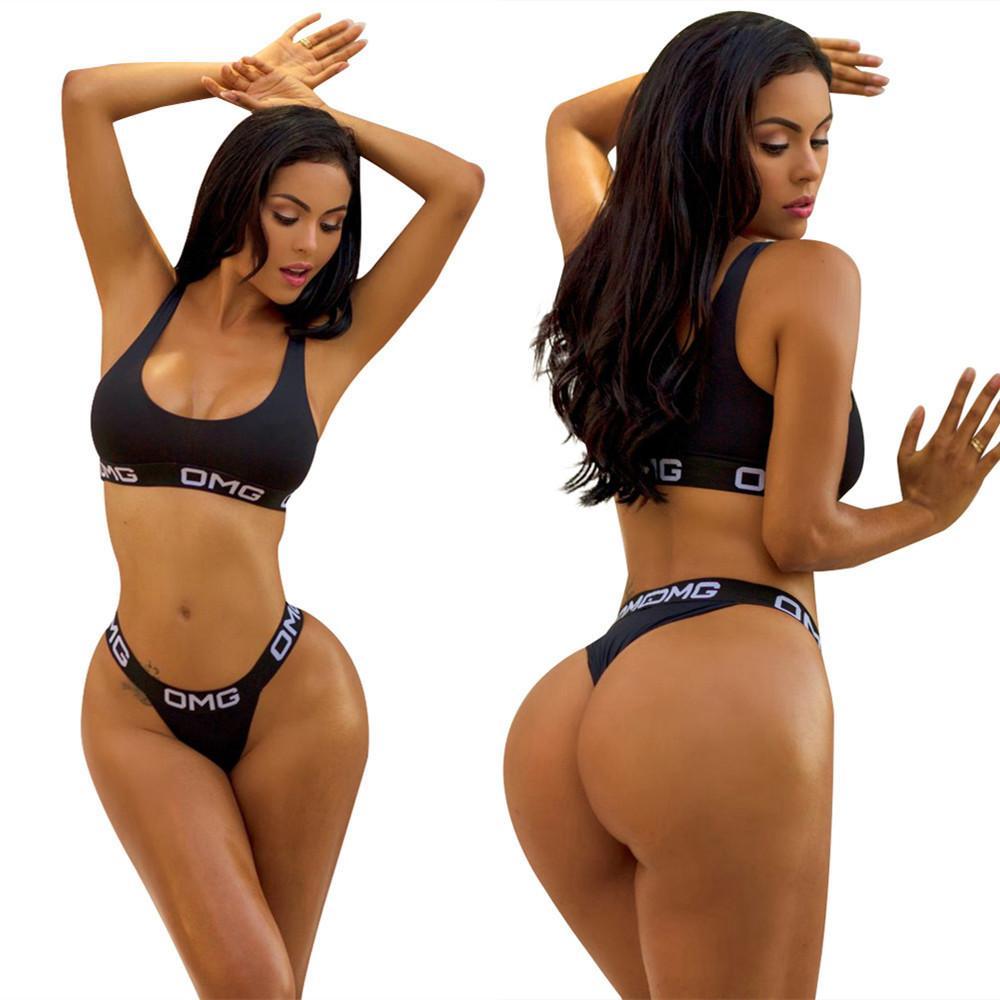 bfde74a14e8f 2018 Nuevo para la venta Mujer Split traje de baño Color negro Sexy Letter  Bikini Swimwear Twinset