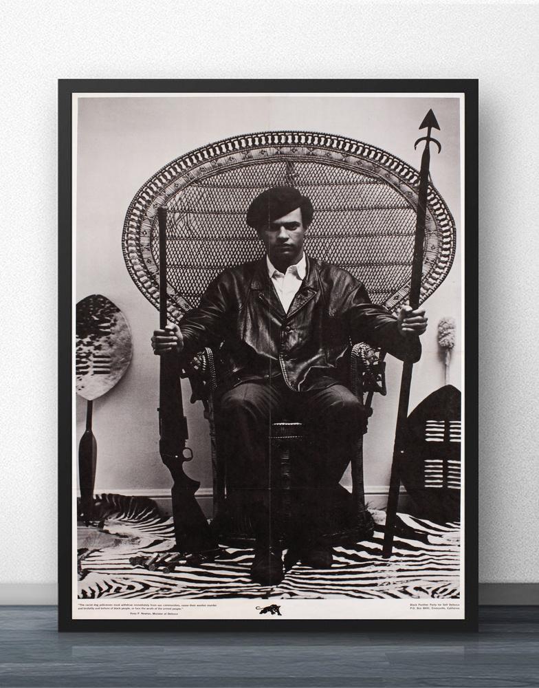 Huey Newton Assis Dans Une Chaise En Osier HQ Rare Film Mur Art Décoration  Murale Imprimés En Soie Art Affiche Peintures Pour Salon No Frame