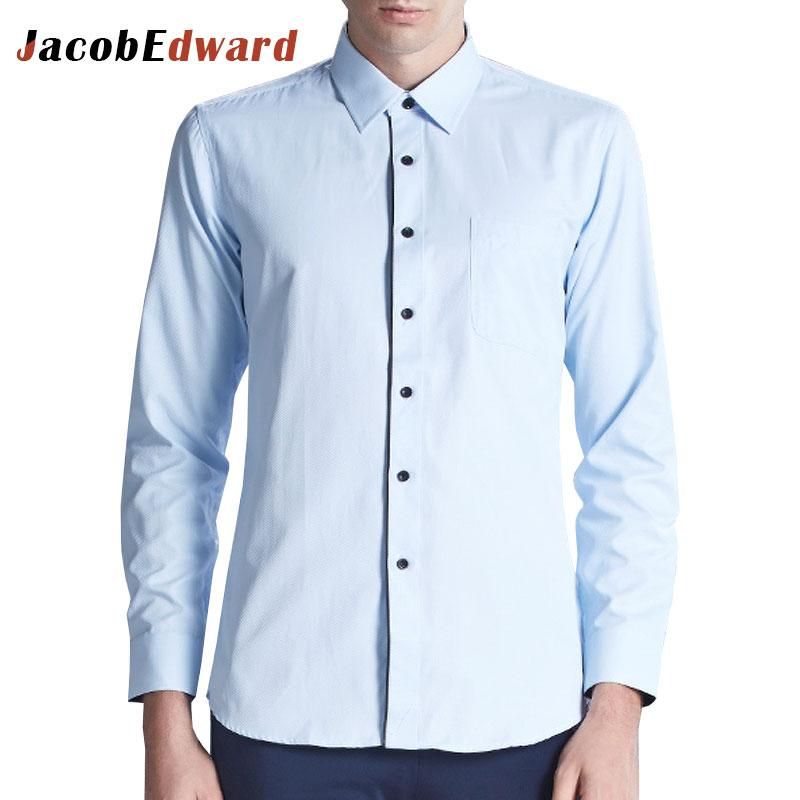 3aa11b5ea4c7 2019 White Blue Casual Dress Shirts Men Polyester Solid Men'S Shirt 2016 New  Fashion Solid Male Shirts Long Sleeve Slim Fit Tops From Chikui, ...