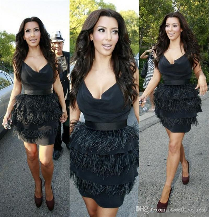 Sexy Black Feather Cocktail Party Dresses With Feathers Celebrity Dress  Tiered Short Mini Sexy Women Prom Formal Gowns Cocktail Dresses For Teens  Cocktail ... 7ec8dbd8804c