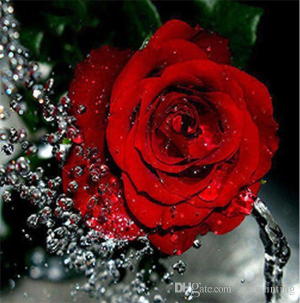 Diamante bordado flor rosa vermelha diy pintura diamante kit ponto cruz resina completa rodada diamante mosaico decoração de casa yx4110