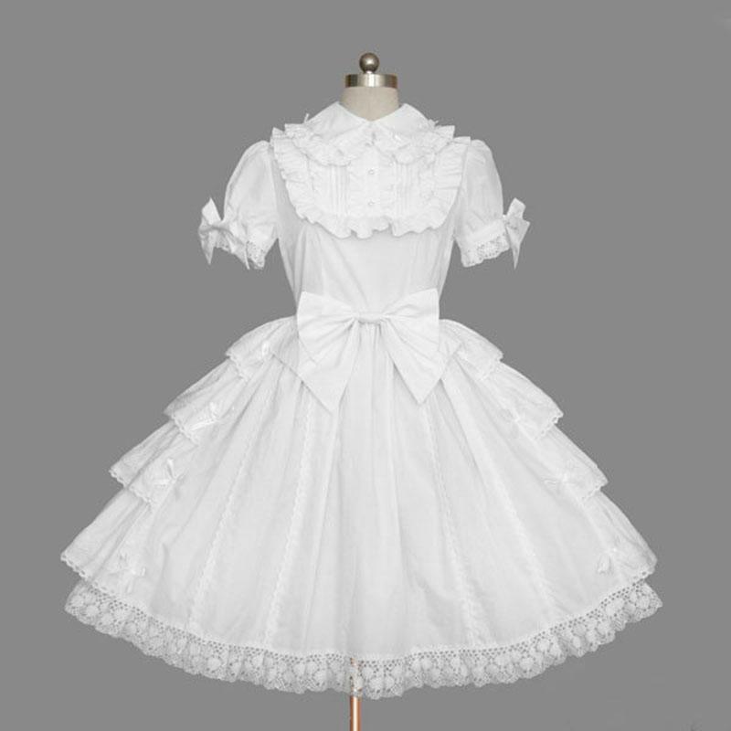 Großhandel Lolita Gothic Klassische Weiß Retro Kleider Kurzarm Style 8nOPwk0