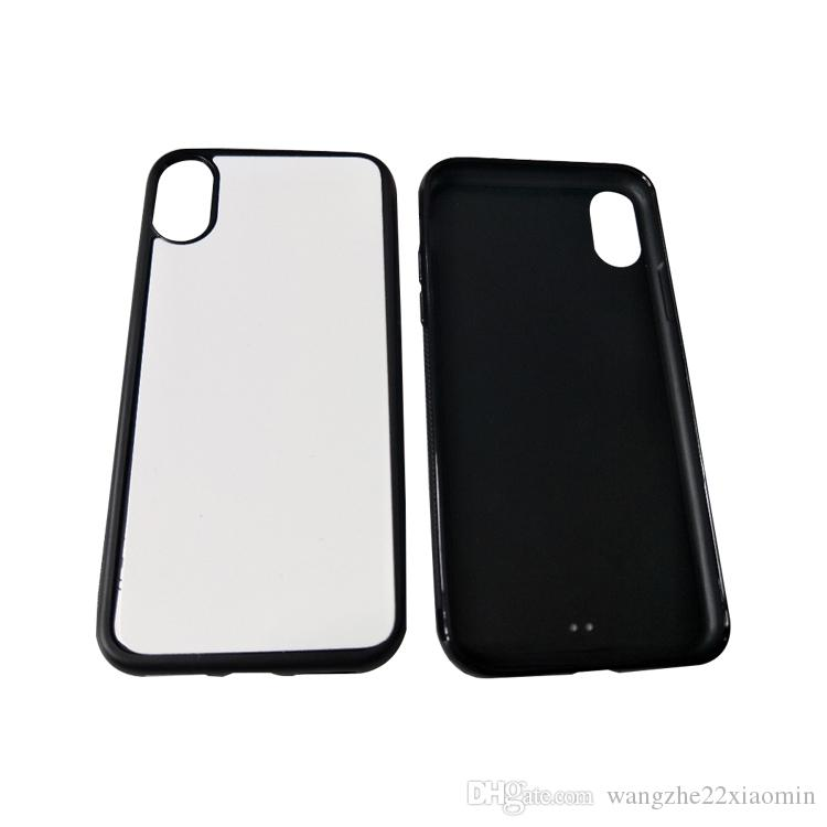 DIY Design Soft Silicone Rubber Case for iPhone X 8 8 Plus TPU+PC Blank 2D Sublimation Case with Metal Inserts