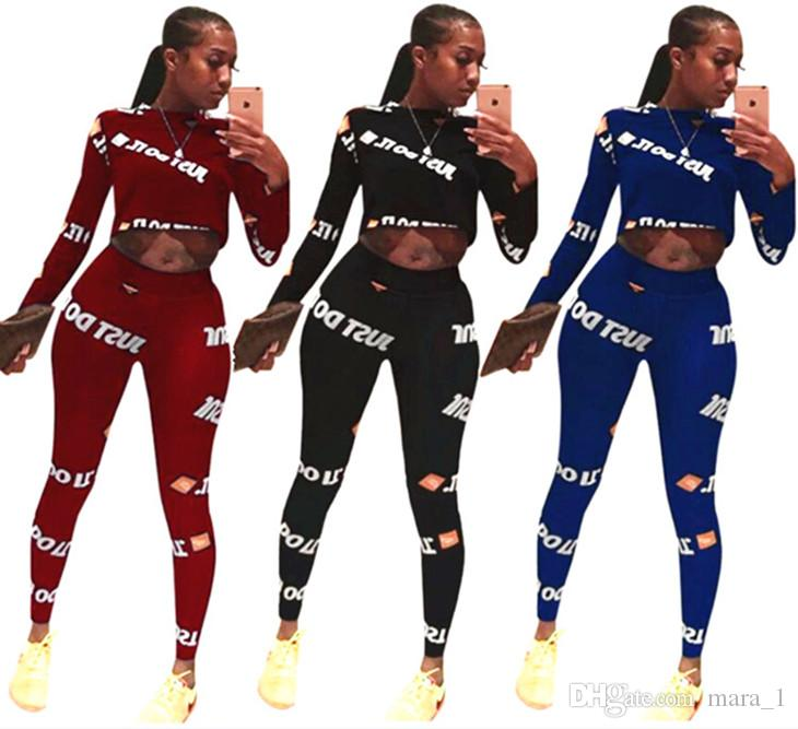 789e2ef214c9c6 2019 Crop Top Set Women Tracksuit Hoodie Leggings Outfits Print Letter  Sweatshirt Tights Pullover Sportswear Shirt Pants Cheap Wholesale From  Mara 1