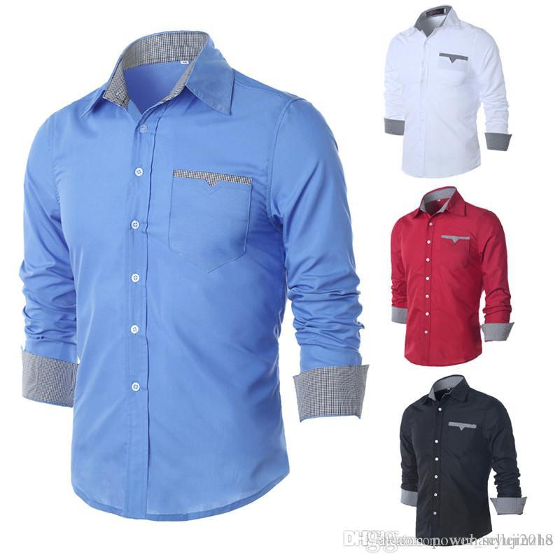 dcdeaa6f92 Compre 2018 Novos Homens Camisa Cor Sólida Manga Comprida Casual Marca  Camisa De Vestido Camisa Social Masculina Vestido De Negócios DH195 De ...