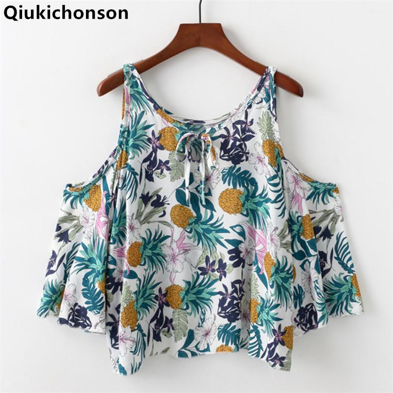 8b21d85226c28 2019 Qiukichonson Cold Shoulder Tops Ladies 2018 Summer Bohemian Style  Pineapple Print Floral Blouse Kawaii Baby Doll Cropped Shirts From Vikey10