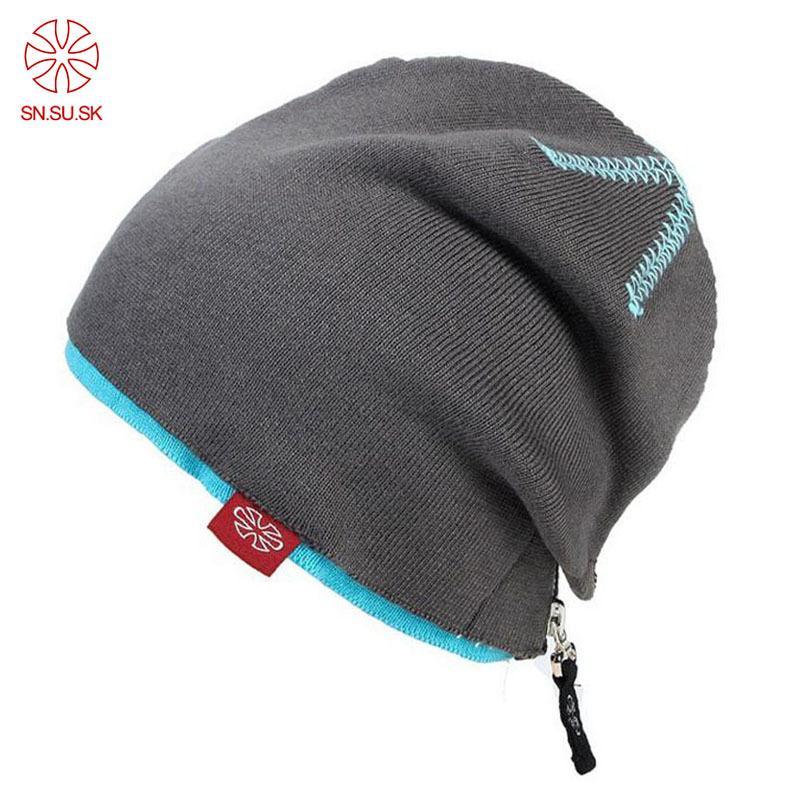 716eb2721 Men Women Double Layer Skiing Hats Warm Winter Knitting Skating Hat Zipper  Hip Hop Beanies Punk Caps SKi Cap Snowboard Hats D18110601
