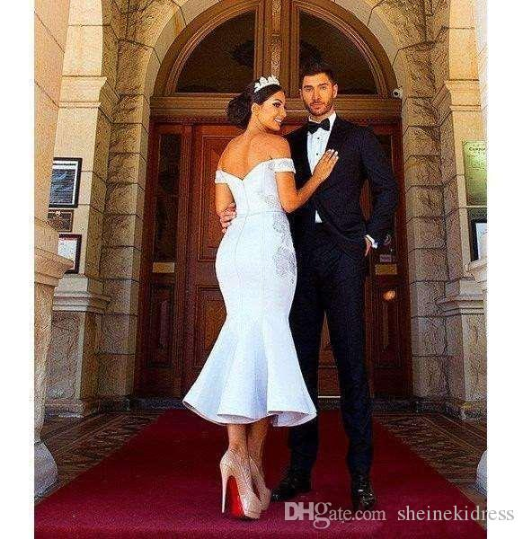 Africano árabe 2018 fuera del hombro sirena vestidos de dama de honor de la blusa de encaje sin respaldo longitud de la dama de honor vestido de fiesta vestidos